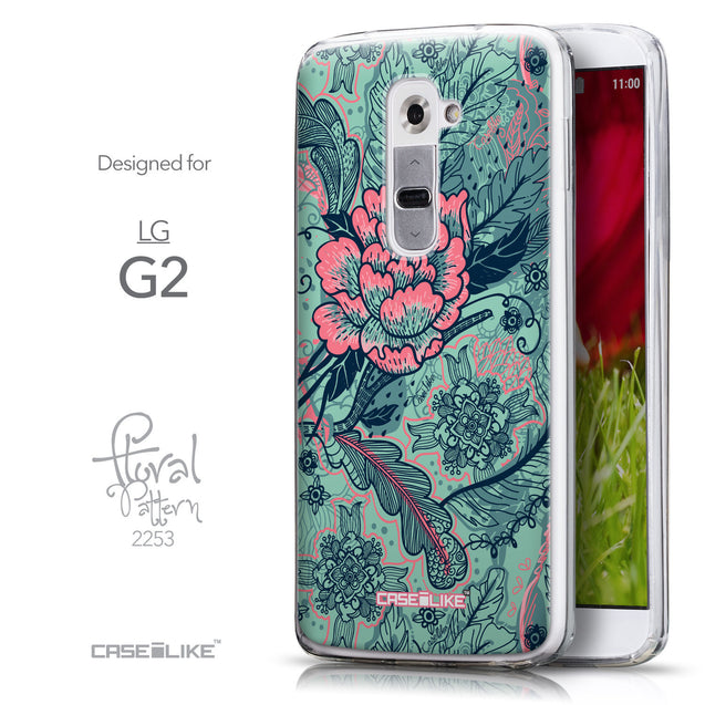 Front & Side View - CASEiLIKE LG G2 back cover Vintage Roses and Feathers Turquoise 2253