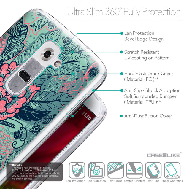 Details in English - CASEiLIKE LG G2 back cover Vintage Roses and Feathers Turquoise 2253