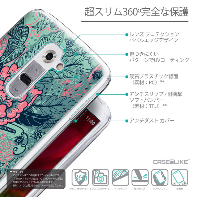 Details in Japanese - CASEiLIKE LG G2 back cover Vintage Roses and Feathers Turquoise 2253