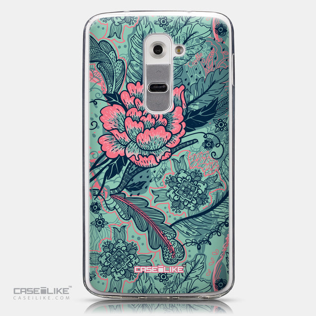 CASEiLIKE LG G2 back cover Vintage Roses and Feathers Turquoise 2253