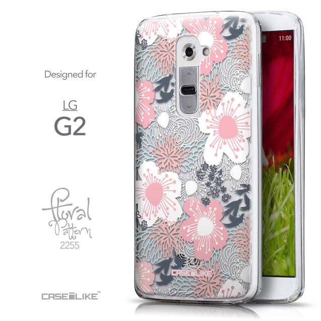 Front & Side View - CASEiLIKE LG G2 back cover Japanese Floral 2255