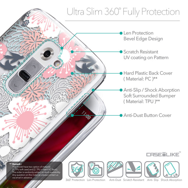 Details in English - CASEiLIKE LG G2 back cover Japanese Floral 2255