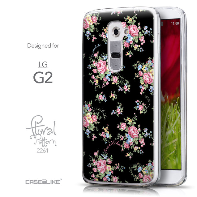 Front & Side View - CASEiLIKE LG G2 back cover Floral Rose Classic 2261