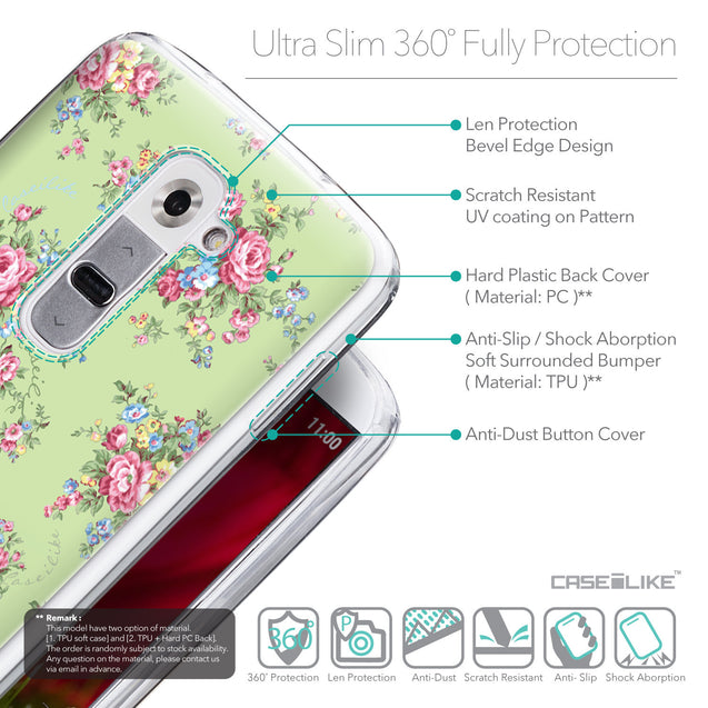 Details in English - CASEiLIKE LG G2 back cover Floral Rose Classic 2262