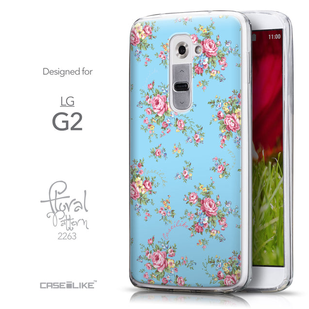 Front & Side View - CASEiLIKE LG G2 back cover Floral Rose Classic 2263