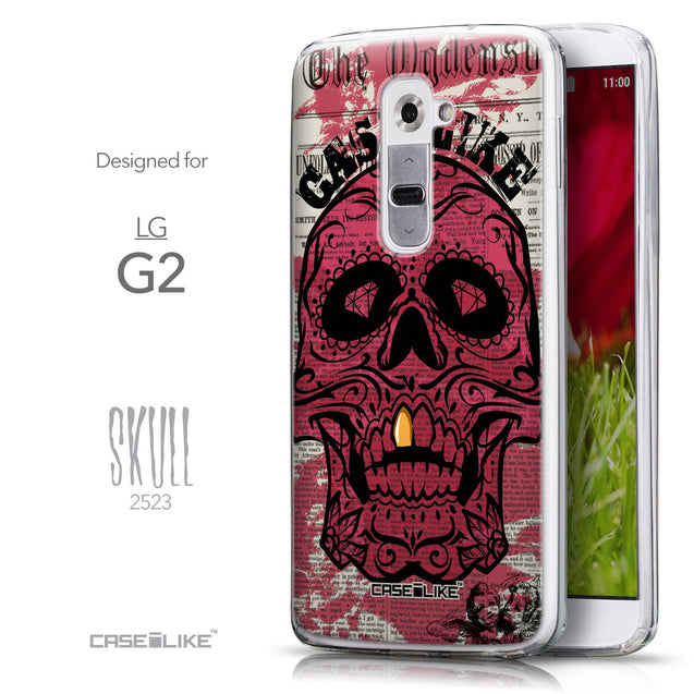 Front & Side View - CASEiLIKE LG G2 back cover Art of Skull 2523