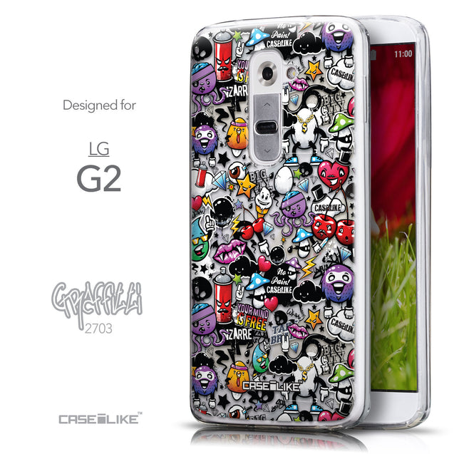 Front & Side View - CASEiLIKE LG G2 back cover Graffiti 2703