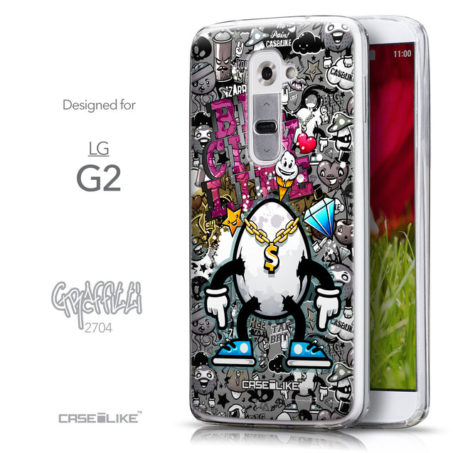 Front & Side View - CASEiLIKE LG G2 back cover Graffiti 2704
