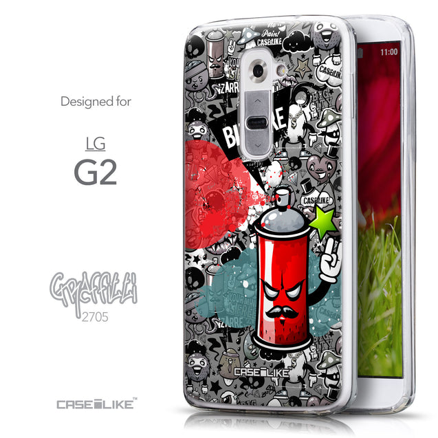 Front & Side View - CASEiLIKE LG G2 back cover Graffiti 2705