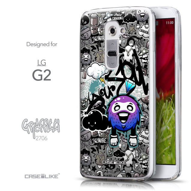 Front & Side View - CASEiLIKE LG G2 back cover Graffiti 2706