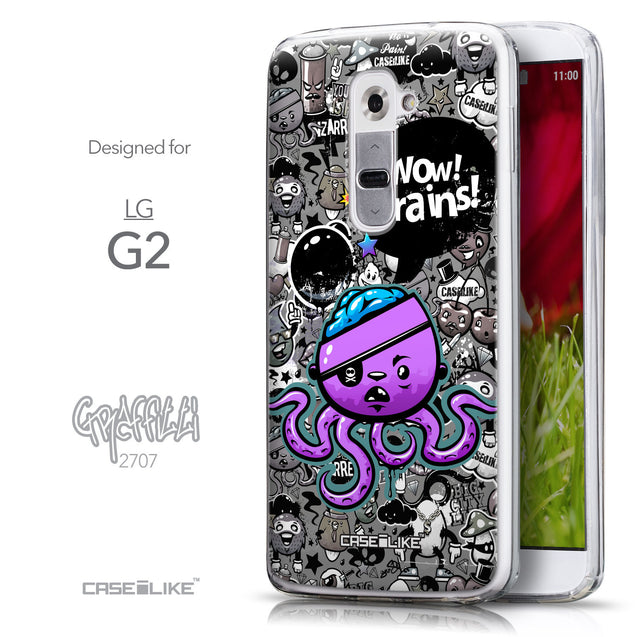 Front & Side View - CASEiLIKE LG G2 back cover Graffiti 2707