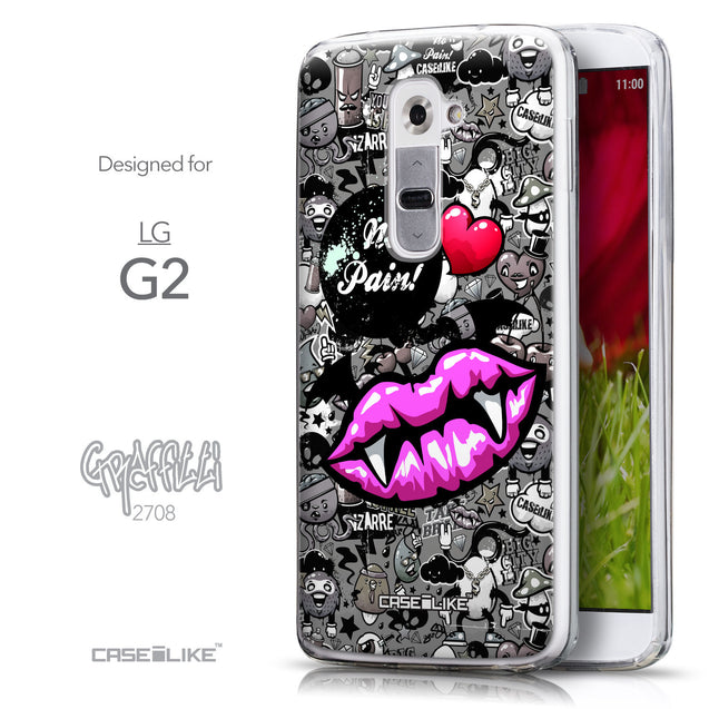 Front & Side View - CASEiLIKE LG G2 back cover Graffiti 2708