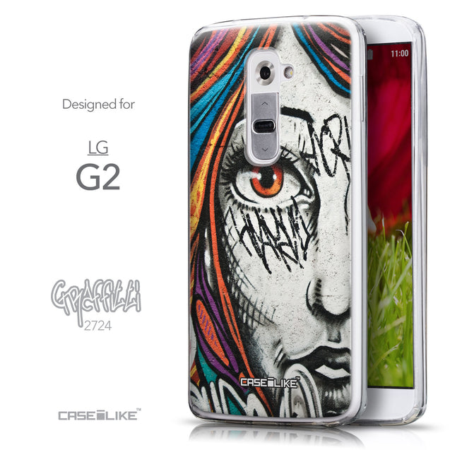 Front & Side View - CASEiLIKE LG G2 back cover Graffiti Girl 2724