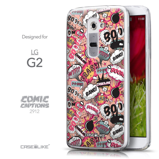 Front & Side View - CASEiLIKE LG G2 back cover Comic Captions Pink 2912