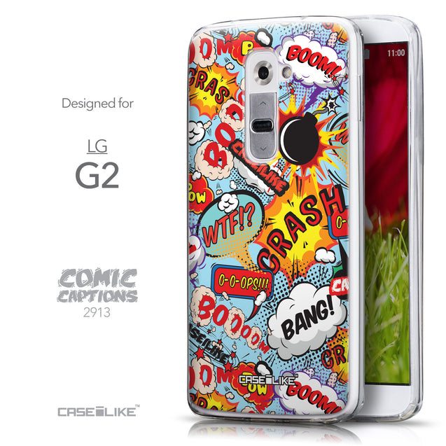 Front & Side View - CASEiLIKE LG G2 back cover Comic Captions Blue 2913