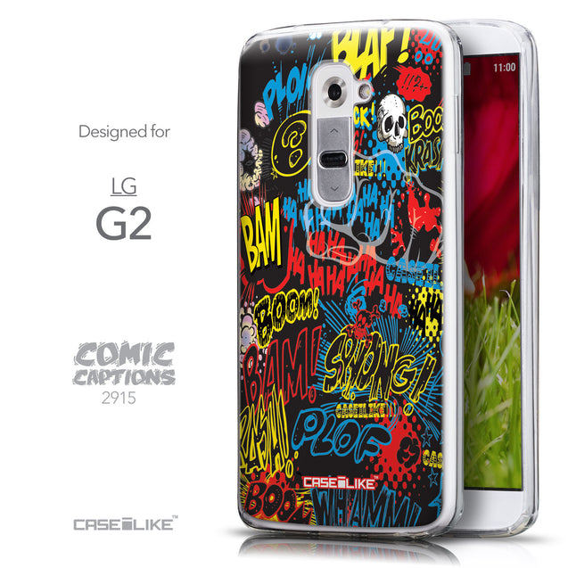 Front & Side View - CASEiLIKE LG G2 back cover Comic Captions Black 2915
