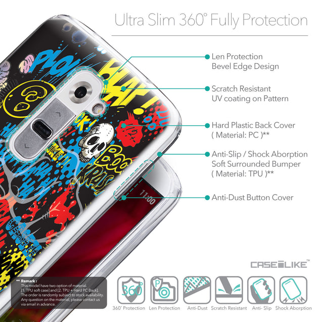 Details in English - CASEiLIKE LG G2 back cover Comic Captions Black 2915