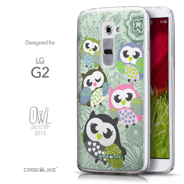 Front & Side View - CASEiLIKE LG G2 back cover Owl Graphic Design 3313