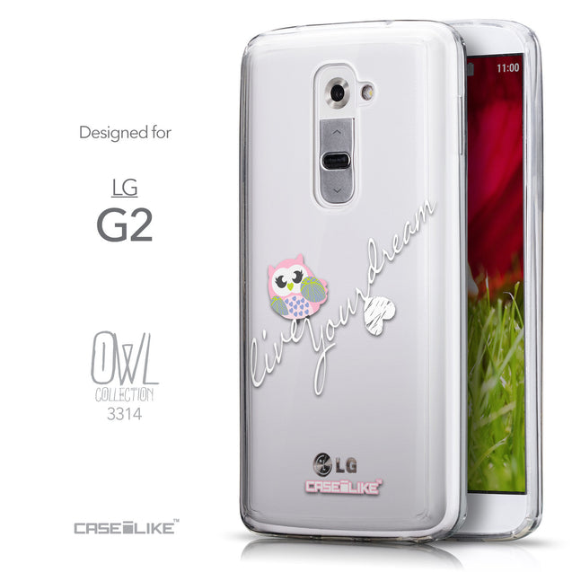 Front & Side View - CASEiLIKE LG G2 back cover Owl Graphic Design 3314