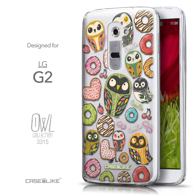 Front & Side View - CASEiLIKE LG G2 back cover Owl Graphic Design 3315