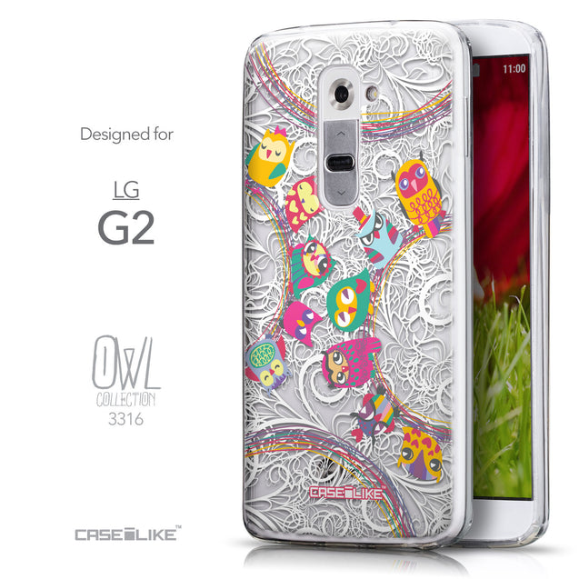 Front & Side View - CASEiLIKE LG G2 back cover Owl Graphic Design 3316