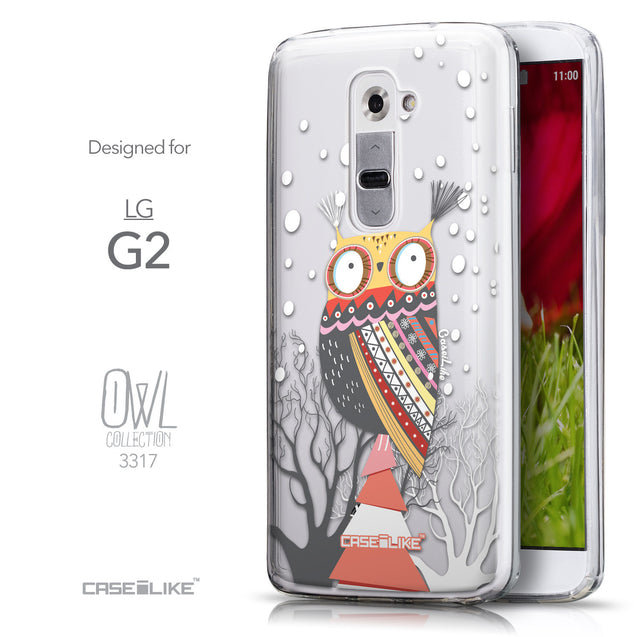 Front & Side View - CASEiLIKE LG G2 back cover Owl Graphic Design 3317