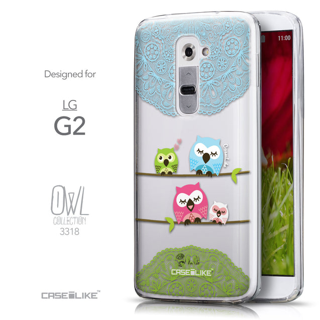 Front & Side View - CASEiLIKE LG G2 back cover Owl Graphic Design 3318