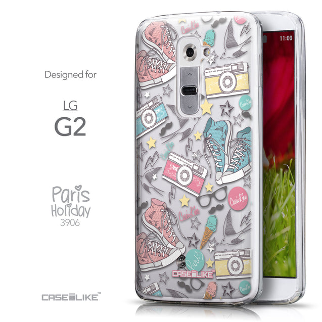 Front & Side View - CASEiLIKE LG G2 back cover Paris Holiday 3906