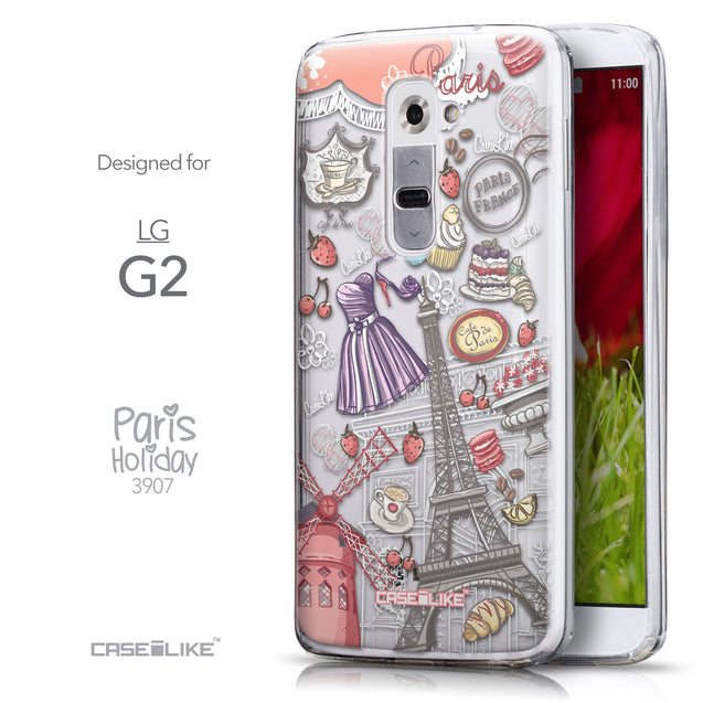 Front & Side View - CASEiLIKE LG G2 back cover Paris Holiday 3907