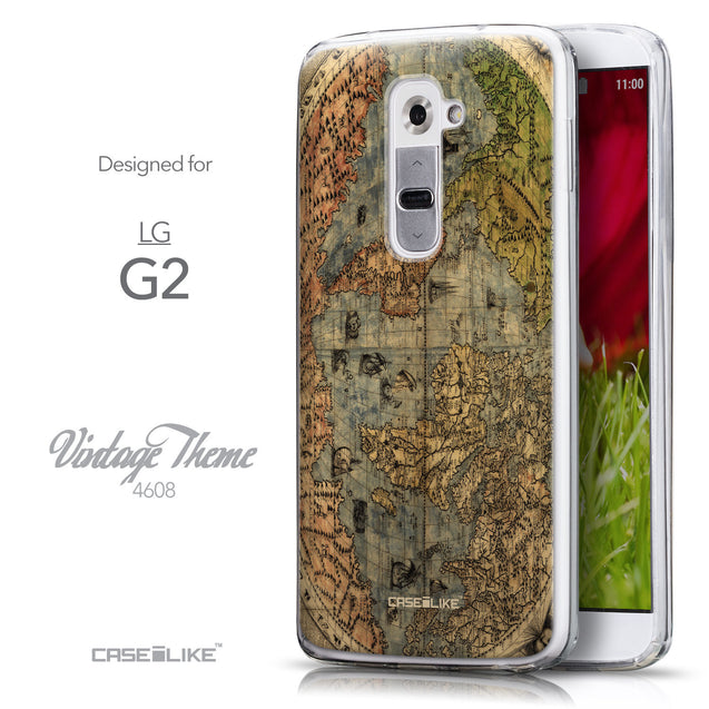 Front & Side View - CASEiLIKE LG G2 back cover World Map Vintage 4608