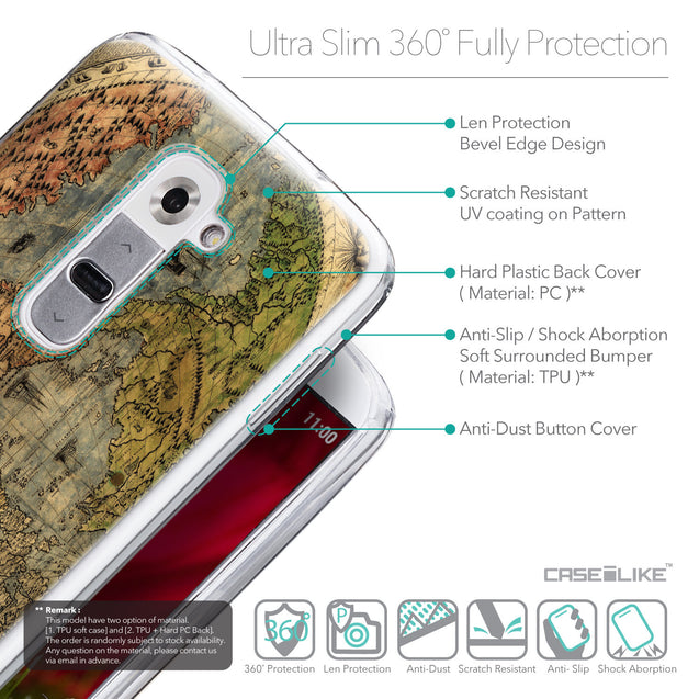 Details in English - CASEiLIKE LG G2 back cover World Map Vintage 4608