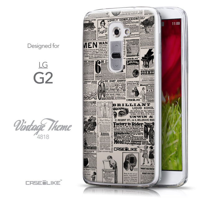Front & Side View - CASEiLIKE LG G2 back cover Vintage Newspaper Advertising 4818