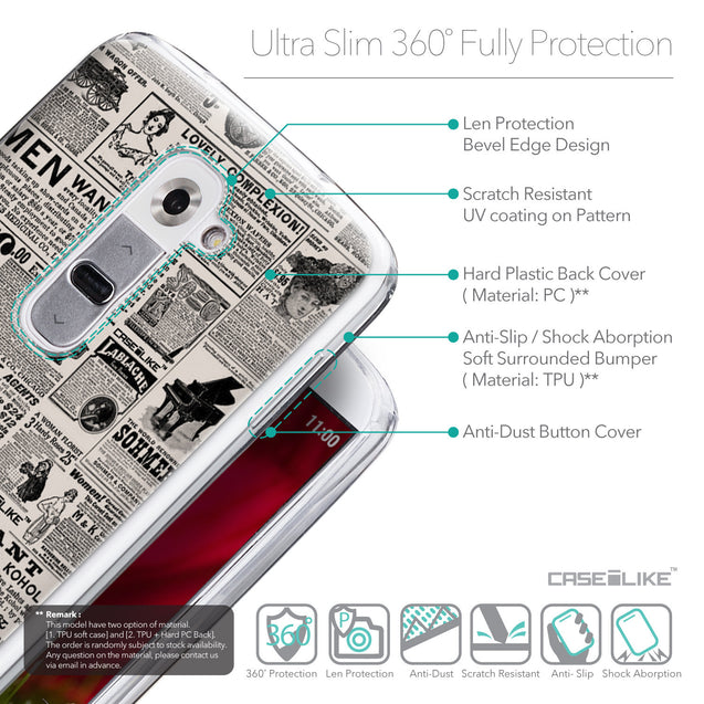 Details in English - CASEiLIKE LG G2 back cover Vintage Newspaper Advertising 4818