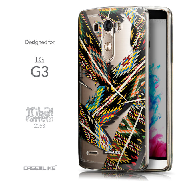 Front & Side View - CASEiLIKE LG G3 back cover Indian Tribal Theme Pattern 2053