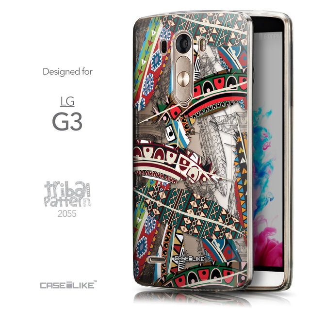 Front & Side View - CASEiLIKE LG G3 back cover Indian Tribal Theme Pattern 2055
