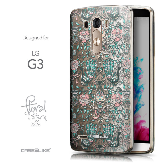 Front & Side View - CASEiLIKE LG G3 back cover Roses Ornamental Skulls Peacocks 2226