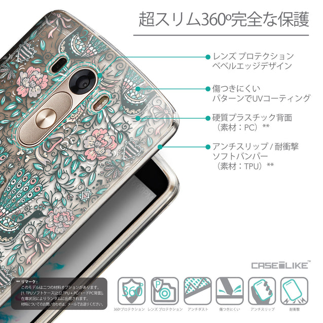 Details in Japanese - CASEiLIKE LG G3 back cover Roses Ornamental Skulls Peacocks 2226
