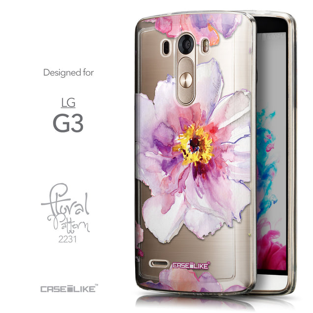 Front & Side View - CASEiLIKE LG G3 back cover Watercolor Floral 2231