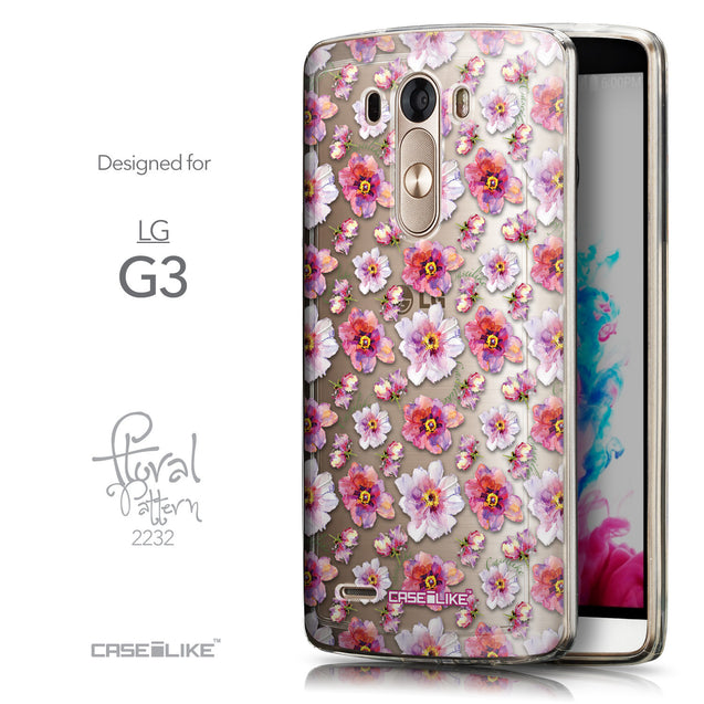 Front & Side View - CASEiLIKE LG G3 back cover Watercolor Floral 2232