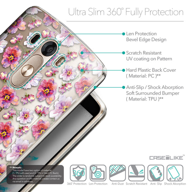 Details in English - CASEiLIKE LG G3 back cover Watercolor Floral 2232