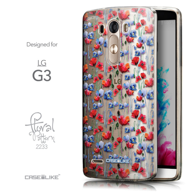 Front & Side View - CASEiLIKE LG G3 back cover Watercolor Floral 2233