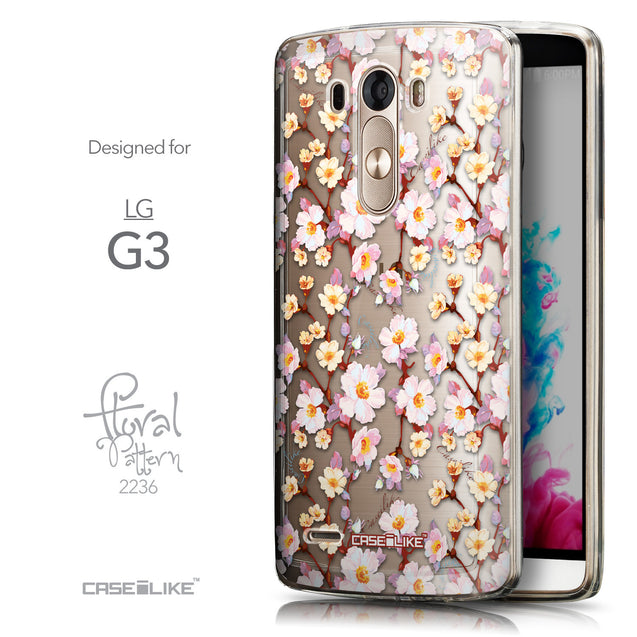 Front & Side View - CASEiLIKE LG G3 back cover Watercolor Floral 2236