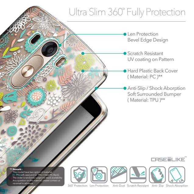 Details in English - CASEiLIKE LG G3 back cover Spring Forest White 2241