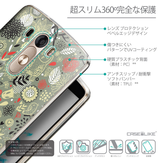 Details in Japanese - CASEiLIKE LG G3 back cover Spring Forest Gray 2243
