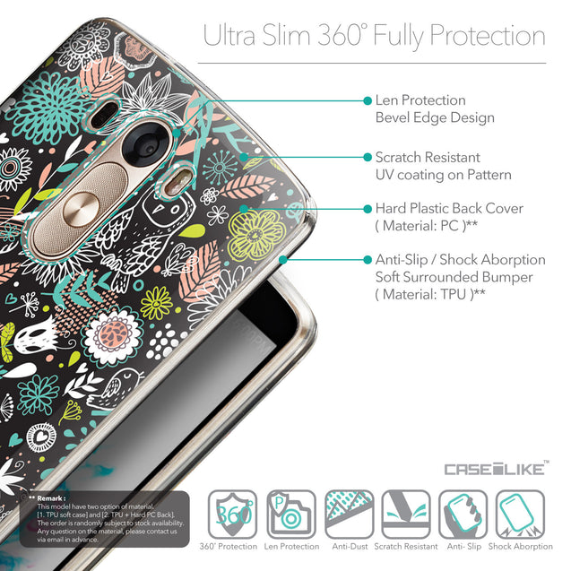 Details in English - CASEiLIKE LG G3 back cover Spring Forest Black 2244