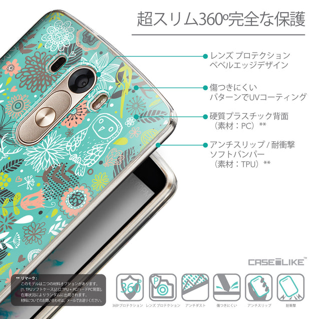 Details in Japanese - CASEiLIKE LG G3 back cover Spring Forest Turquoise 2245