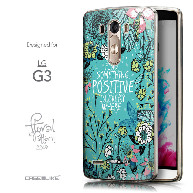 Front & Side View - CASEiLIKE LG G3 back cover Blooming Flowers Turquoise 2249