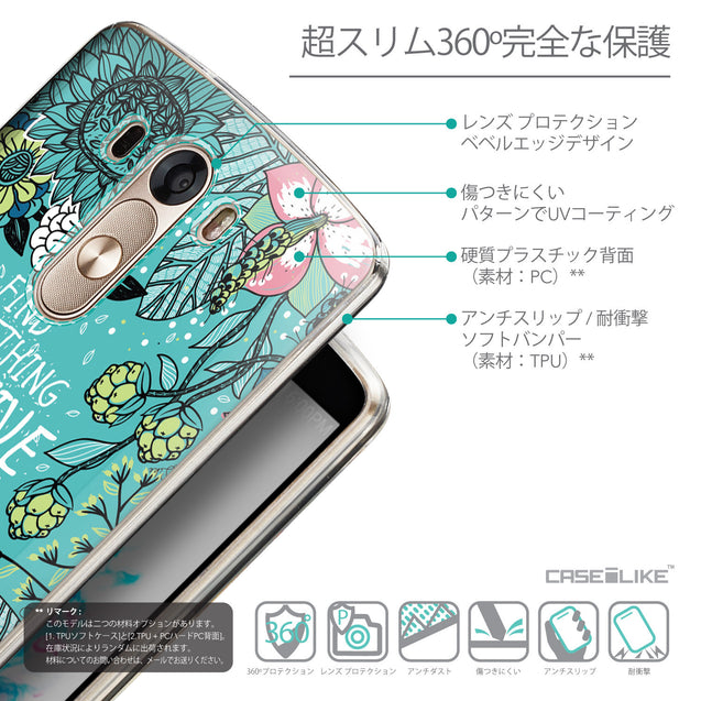 Details in Japanese - CASEiLIKE LG G3 back cover Blooming Flowers Turquoise 2249