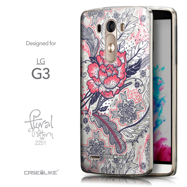 Front & Side View - CASEiLIKE LG G3 back cover Vintage Roses and Feathers Beige 2251