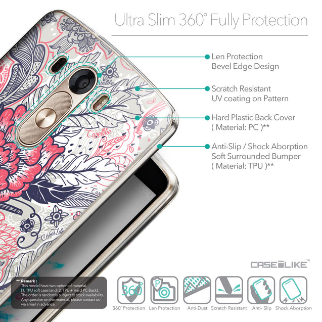 Details in English - CASEiLIKE LG G3 back cover Vintage Roses and Feathers Beige 2251